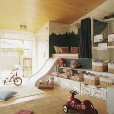 Горка для верхней кровати в комнате для детей