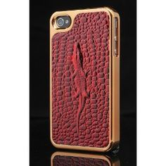 iPhone 4 4S Red Leather Pattern Back 3D Case