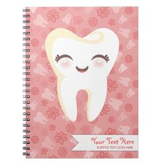 Shop Cute Tooth - Pink Custom Notebook created by creativekid. Personalize it with photos & text or purchase as is! Dental Puns, Dental Care, Dental Bridge Cost, Dentist Day, Teeth Whitening That Works, Teeth Implants, Dental Implants, Cute Tooth, Emergency Dentist