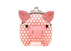 pink, piggy clutch purse...misala handmade bags and purses