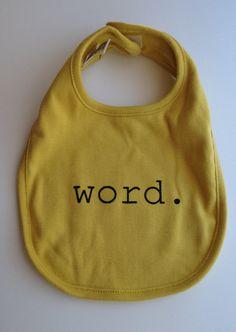 Word  Organic Cotton Baby Bib by garbella on Etsy, $18.00