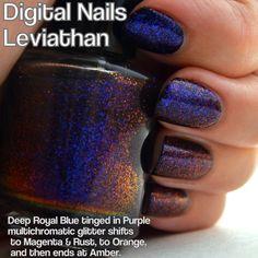 Leviathan: A Multicolored shifting glitter nail lacquer by Digital Nails. via Etsy.