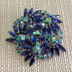 Crystal Brooch - Blue Teal Vintage