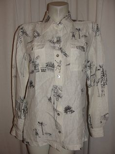 CHICOS Ivory Black Linen/Silk Textured L Sleeve Button Down Blouse Top Sz M (1) #Chicos #ButtonDownShirt #Casual