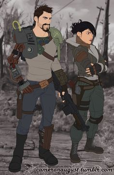 Mac and Sydney - Fallout 4 design by CameronAugust on DeviantArt Curie Fallout, Character Sheet, Character Design, Fallout Wallpaper, Fallout Fan Art, Fallout Cosplay, Nuclear Winter, Steampunk, Arte Nerd