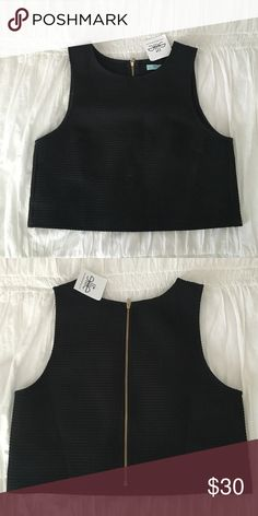 SHE + SKY • black crop top. NWT!! Size Small. Exposed gold zipper on back. From Ellie Boutique! She and Sky Tops Crop Tops
