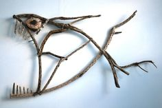Marcel Dijker creates art from driftwood, stone, seashells and steel Driftwood Fish, Driftwood Sculpture, Fish Sculpture, Twig Art, Driftwood Projects, Creation Deco, Beach Crafts, Wooden Art, Fish Art
