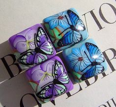 Butterfly Polymer Clay Beads  Pillow Shaped by thecolorofdreams, $6.00