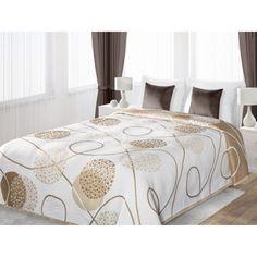 Biele obojstranné prikrývky na posteľ so zlatými guličkami