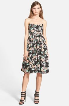 Love Sadie Floral Print Strapless Midi Dress available at #Nordstrom