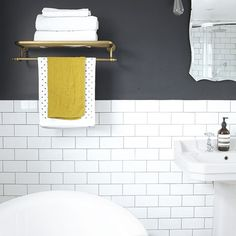 Modern monochrome bathroom with copper accents | bathroom decorating | Style at Home | Housetohome.co.uk