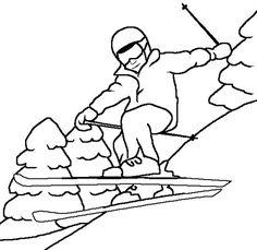 winter skiing coloring