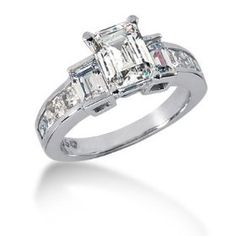 14K White Gold Engagement Ring - 2.00CT Emerald Cut Diamond Ring(H-I Color, I1 Clarity)