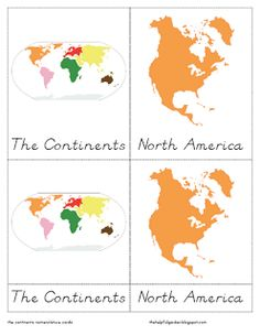 The Helpful Garden: Continents Nomenclature Cards in D'nealian and Little Booklets