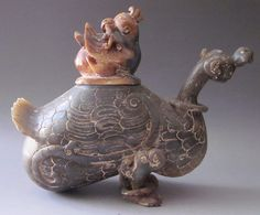 Old Chinese KunLun Jade Carving:Bird Zun (Wine Vessel)
