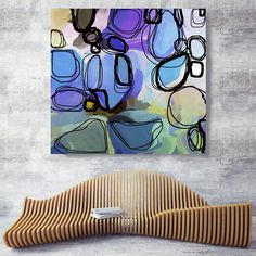 Lavender Blush. Purple Green Abstract Art Wall Decor Large
