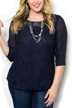 http://www.dhstyles.com/Navy-Plus-Size-Girly-Fitted-Sheer-Floral-Crocheted-p/ire-7138x-navy.htm