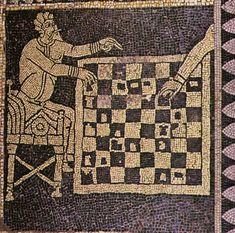 Gli scacchi nella pittura # Mosaico pavimentale (Piacenza, S.Savino, sec. XI).