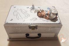 Boîte à trésors  bébé fille grise et blanche - au coeur des arts