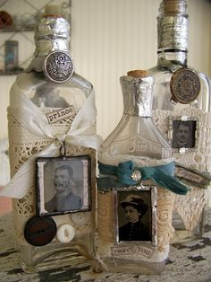 SO Pretty! I'm making these in memory of our grandparents. Using the doilies each grandmother left us, buttons from their button cans, and some patches or odds and ends from the grandfathers. @Krista McNamara Rikkertsen thought you might like this one too. :)    #Bottles #Buttons #Doilies #DIY #Craft #Scrapbooking #Memory #Home #Decor