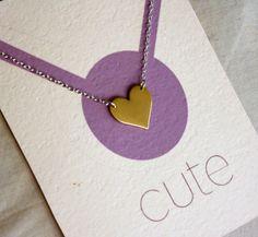 Valentines Day Necklace Single Brass Heart by RachelPfefferDesigns, $26.00