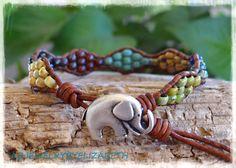 Single Wrap Bracelet Elephant Leather Wrap by AZJEWELRYBYELIZABETH
