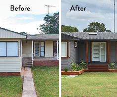 This achievable exterior makeover proves a basic suburban home with dated aluminium windows can have street appeal with a few simple updates Architecture Renovation, Home Renovation, Home Remodeling, Basement Renovations, Home Exterior Makeover, Exterior Remodel, Ranch Exterior, Up House, House Front