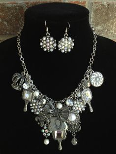 Pearl Statement Necklace Bib Necklace Charm by DesignsbyStalinda, $85.00
