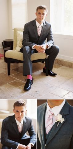 Just a touch of pink in this groom's wedding day attire. Photos by Brian Saculles Photography | JunebugWeddings.com