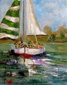 Christmas Sail Boat by Delilah Smith Oil ~ 10 x 8