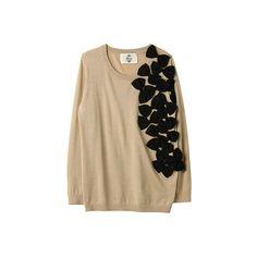 【ELLE SHOP】カオン|リボンディティールクルーネックプルオーバー|ファッション通販 エル・ショップ ❤ liked on Polyvore