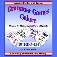 Mastering Grammar Rules: Grammar Games Galore offers 5 card games that entice students to learn the parts of speech. For graders or struggling learners. Part Of Speech Grammar, Parts Of Speech, Grammar Games, Sentence Strips, Homeschool Curriculum, Homeschooling, Learn English Grammar, Dysgraphia, Dyslexia