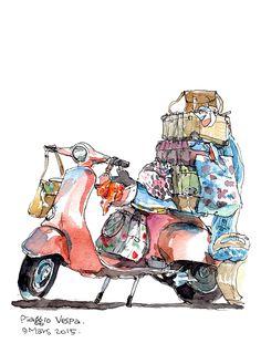 一個女文青逛完周年慶的概念A pink Vespa with many bags Watercolor Beginner, Kids Watercolor, Watercolor Artwork, Watercolor Illustration, Vespa Illustration, Watercolor Architecture, Perspective Art, Guy Drawing, Car Drawings