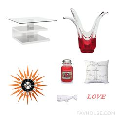 Home Decor Wishlist Featuring Accent Table Red Vase Clock And Scented Candle From September 2016 #home #decor