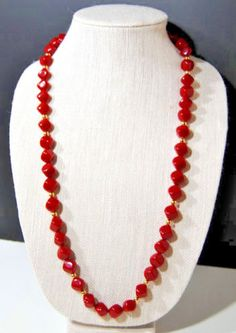 Necklace Vintage Red Gold Beads Fashion Burlesque Cubed Classic Flapper