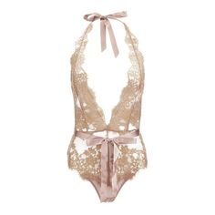 L'Agent by Agent Provocateur Women's Iana Playsuit - Taupe/Gold ($195) ❤ liked on Polyvore featuring jumpsuits, rompers, metallic romper, plunge halter top, backless halter top, halter rompers and plunge romper
