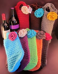 "Free pattern for Off-the-Hook Crochet's ""Wine Totes""! This page has the ""Flower Pattern"", but there is a link to a free pdf of the wine tote. Been looking for this free pattern for quite a while."