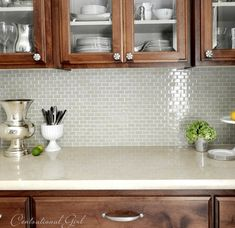 Gray glass tile backsplash for kitchen redo Kitchen Redo, New Kitchen, Kitchen Remodel, Kitchen Dining, Dining Room, Glass Backsplash Kitchen, Backsplash Tile, Backsplash Ideas, Kitchen Tiles