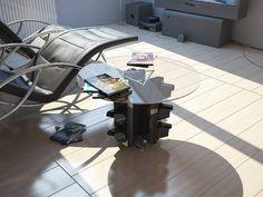 Tavolo bobina ~ Tavolo pranzo su bobina recuperata ripiano in vetro con bisello