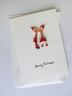 Christmas Handmade Card - Merry Kissmas humour cute paper quilling. $7.50, via Etsy.