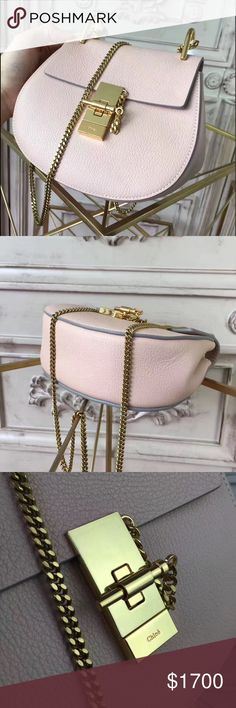 """💯% Authentic Gorgeous baby pink Chloé Drew Bag Small grain calfskin Carry: long shoulder or cross-body    - Unique compartment - Topstitched front flap - Signature jewel lock - Internal flat pocket - Golden brass finishing - Refined beige suede calfskin lining  - Width: 9.3"""" / 23.5 cm - Height: 8.3"""" / 21 cm - Depth: 3.1"""" / 8 cm - Strap length: 20.5"""" / 52 cm I can offer a better price through 🅿️🅿️ or if u are a Los Angeles local looking to make an in-person transaction. ***GUARANTEED…"""