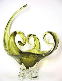 Chalet Art Glass Olive Green Centerpiece.