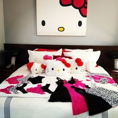 Wish I lived in this room @hellokitty Miss Kitty, Cat Party, Pretty Cats, Bedroom Arrangement, Nighties, Hello Kitty Bedroom, Sanrio Characters, Hello Kitty Birthday, Hello Kitty Collection