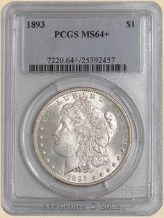 1893 Morgan Dollar MS64+ PCGS, obverse