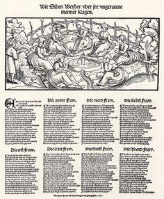 Title: Sieben Frauen klagen über ihre Männer              Tags: Hat, Trossfrau, Pouch              Date: 1st half of 16th Century                        Artist: Erhard Schoen              Provenance: Germany              Collection: Herzogliches Museum (Landesmuseum)