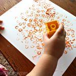 Simple Lego Stamped Pumpkin Craft for Kids