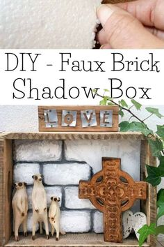 Take the traditional shadow box to a whole new level by adding faux bricks. This easy DIY tutorial will show you how to make your own shadow box in any size along with creating the faux bricks. #FauxBricksDIY #DisplayBoxDIY #ACraftyMix #BrickWallDisplaybox #DIYHomeDecor #FramedBricks