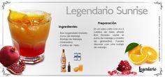 Receta: Legendario Sunrise. Ron Legendario -Ron Legendario dorado -Zumo de Naranja -Rodaja de Naranja -Granadina -cubitos de hielo  Preparación: En un vaso con 4 o 5 cubitos de hielo añadir ron dorado. Verter el zumo de naranja y chorrito de granadina. Puedes decorar con una rodaja de naranja.