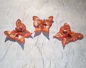 Set of Three Orange Butterfly Sequin Applique