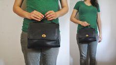 Navy Coach Handbag / leather purse / Court bag by badbabyvintage on Etsy